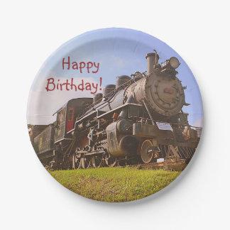 Birthday Vintage Steam Train Paper Plate