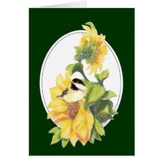 Birthday  Watercolor Chickadee and Sunflower Card