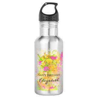 Birthday Watercolor Flower Bouquet 532 Ml Water Bottle