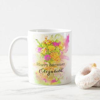 Birthday Watercolor Flower Bouquet Coffee Mug