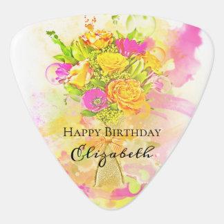 Birthday Watercolor Flower Bouquet Guitar Pick