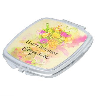 Birthday Watercolor Flower Bouquet Makeup Mirror