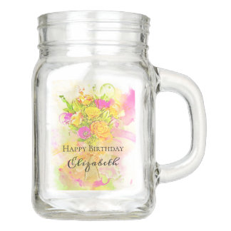 Birthday Watercolor Flower Bouquet Mason Jar