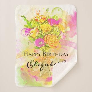 Birthday Watercolor Flower Bouquet Sherpa Blanket