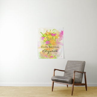 Birthday Watercolor Flower Bouquet Tapestry