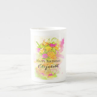 Birthday Watercolor Flower Bouquet Tea Cup