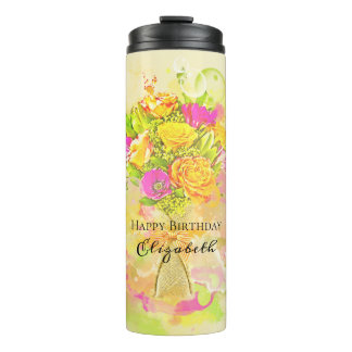 Birthday Watercolor Flower Bouquet Thermal Tumbler