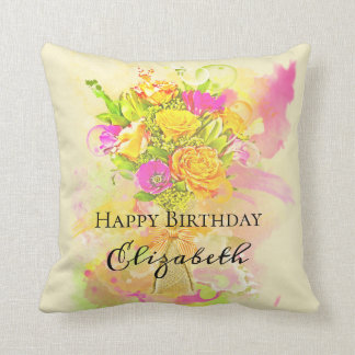 Birthday Watercolor Flower Bouquet Throw Pillow