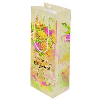 Birthday Watercolor Flower Bouquet Wine Gift Bag