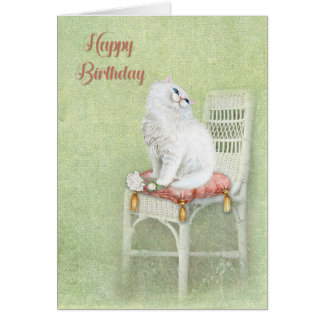 birthday white cat and roses on pillow card