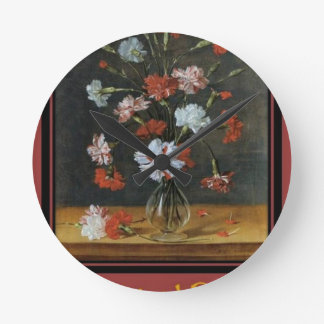 Birthday Wishes - Carnations In A Glass Vase Round Clock
