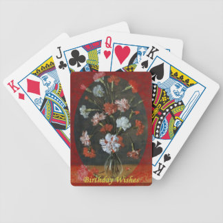 Birthday Wishes - Carnations With Oval Mount Bicycle Playing Cards