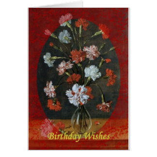 Birthday Wishes - Carnations With Oval Mount Card