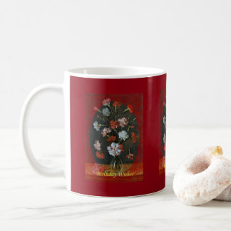 Birthday Wishes - Carnations With Oval Mount Coffee Mug