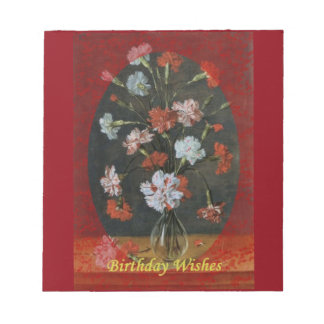 Birthday Wishes - Carnations With Oval Mount Notepad