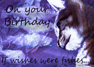 Birthday Wishes Cat And Fishes Card