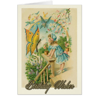 Birthday Wishes Girl And Butterfly Card