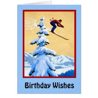 Birthday Wishes, Ski jumping Greeting Card