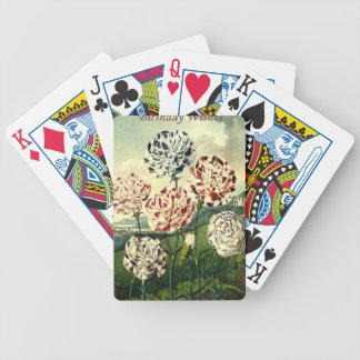 Birthday Wishes - Striped Carnation Bicycle Playing Cards