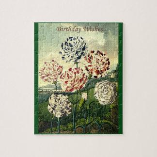 Birthday Wishes - Striped Carnation Jigsaw Puzzle