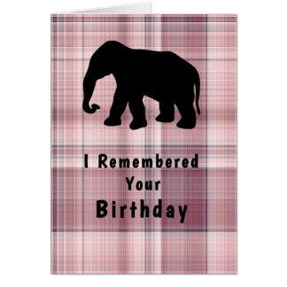 Birthday with Elephant & Pink Plaid Card