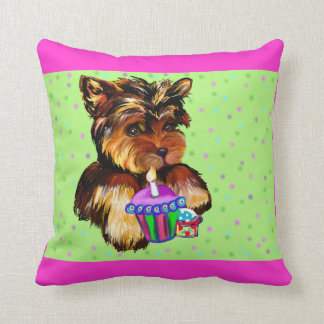 BIRTHDAY YORKIE THROW PILLOW