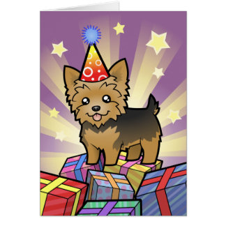 Birthday Yorkshire Terrier (short hair no bow) Card