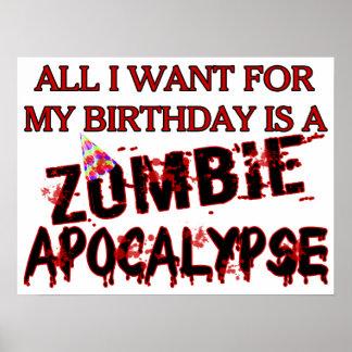 Birthday Zombie Apocalypse Poster