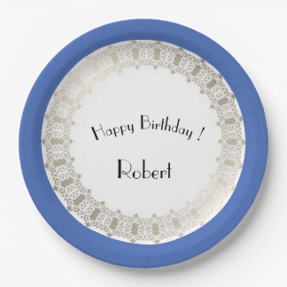Birthdays_Monogram-Blueberry-Silver-Shield_Unisex Paper Plate
