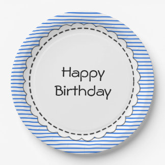 Birthdays_Sailor's-Blue-Stripes_Template_Monogram Paper Plate