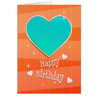 Birthstone December Blue Turquoise Heart Birthday Card