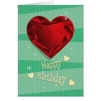 Birthstone January Red Garnet Heart Birthday Card