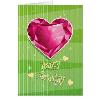 Birthstone July Red Ruby Heart Birthday Card