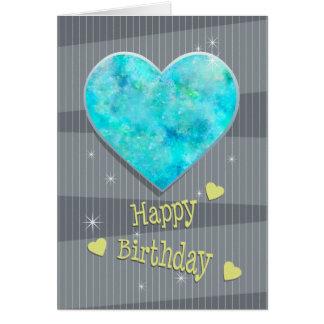 Birthstone October Blue Opal Heart Birthday Card
