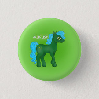 Birthstone Pony- August/Peridot 1 Inch Round Button