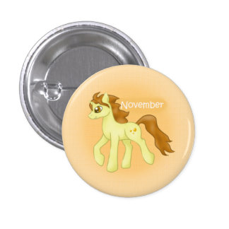 Birthstone Unicorn- November/Topaz Pinback Button