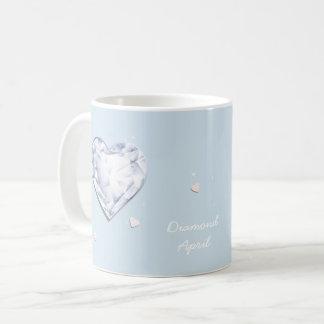 Birthstones April Diamond cool blue Heart Coffee Mug
