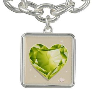 Birthstones August Peridot Olive Green Heart Bracelets