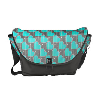 Birthstones December Turquoise blue Heart Courier Bags