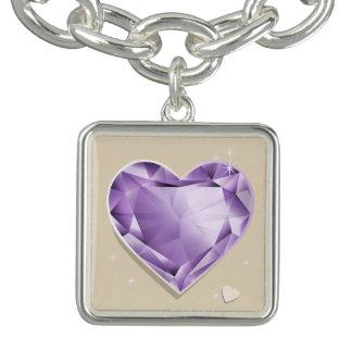 Birthstones February Amethyst Purple/lilac Heart Bracelet