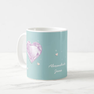 Birthstones June Pink Purple Alexandrite Heart Coffee Mug