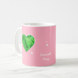 Birthstones May Green Emerald Heart Coffee Mug