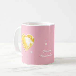 Birthstones November Golden Yellow Citrine Heart Coffee Mug
