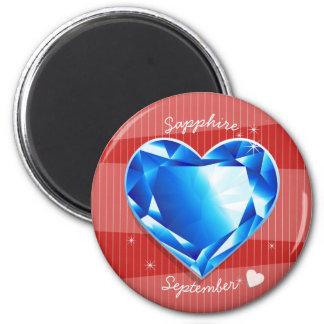 Birthstones September Sapphire Blue Heart 2 Inch Round Magnet