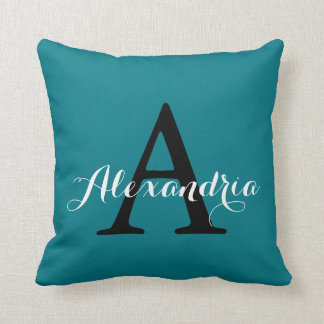 Biscay Bay Elegant Teal Solid Color Monogram Throw Pillow