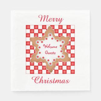 Biscuit de Noël sur le damier rouge et blanc Serviettes Jetables