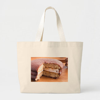 Biscuit with chocolate and a layer of milk souffle large tote bag