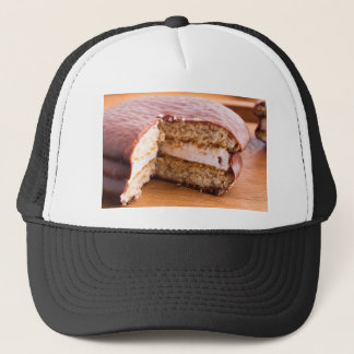 Biscuit with chocolate and a layer of milk souffle trucker hat