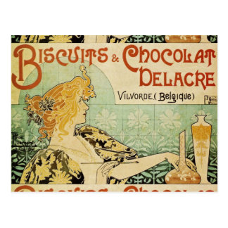 Biscuits and Chocolat Delacre Postcard