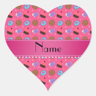 Biscuits roses nommés de gâteau de butées toriques sticker cœur